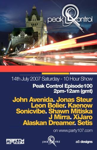 Peak Control 100 - John Avenida, Jonas Steur, Sonicvibe, Leon Boiler, and more (07-14-07)!