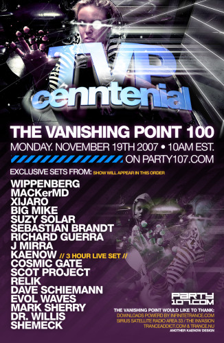 The Vanishing Point 100 - 19+ Hours of Sets from Kaenow, Wippenberg, Sebastian Brandt, Cosmic Gate, Scot Project, Mark Sherry, Suzy Solar, and more (11-19-07)!
